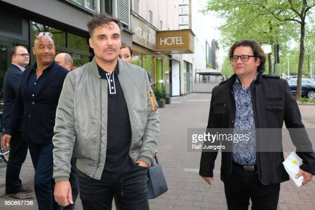 David LaChappelle and his galerist Dirk Geuer attend the 'LACHAPELLE Negative Currency' Exhibition Opening at Geuer und Geuer on April 24 2018 in...