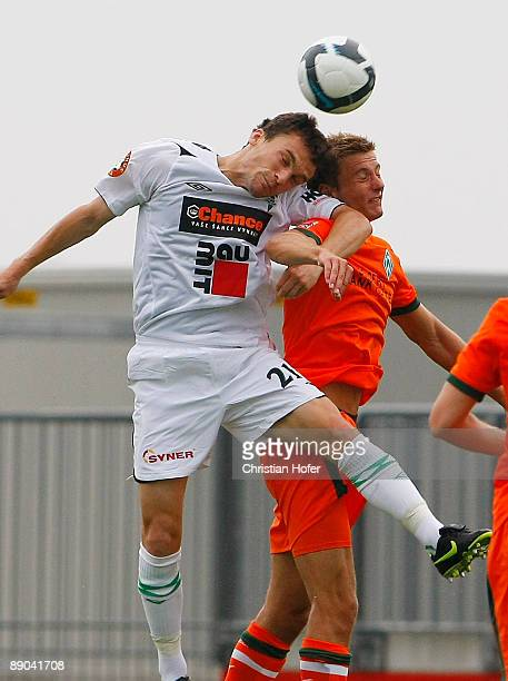 David Lafata of Jablonec and Niklas Andersen of Bremen fight for the ball during the pre-season friendly match between FK Jablonec 97 and SV Werder...
