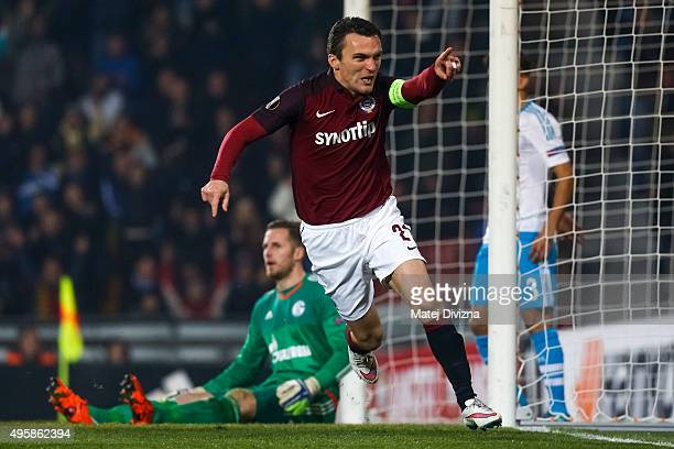 David Lafata of Sparta Praha celebrates his goal during the UEFA Europa League Group K match between AC Sparta Praha and FC Schalke 04 at Generali...