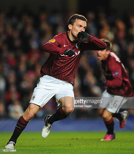 David Lafata of Sparta Praha celebrates scoring the opening goal during the UEFA Europa League Round of 32 second leg match between Chelsea and...