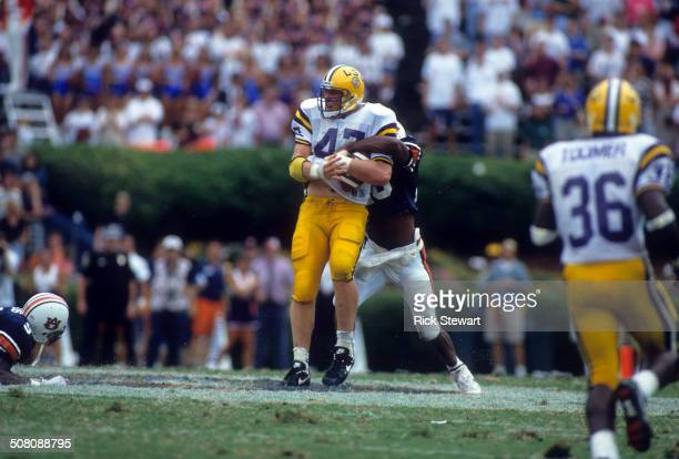 David LaFleur of the LSU Tigers catches the ball during the game against the Auburn Tigers on September 17 1994 at JordanHare Stadium in Auburn...