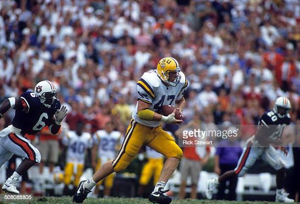 David LaFleur of the LSU Tigers runs with the ball during the game against the Auburn Tigers on September 17 1994 at JordanHare Stadium in Auburn...