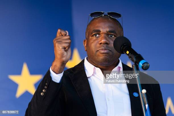 David Lammy MP addresses thousands of proEU supporters at Unite For Europe March rally in Parliament Square which has been organised to coincide with...