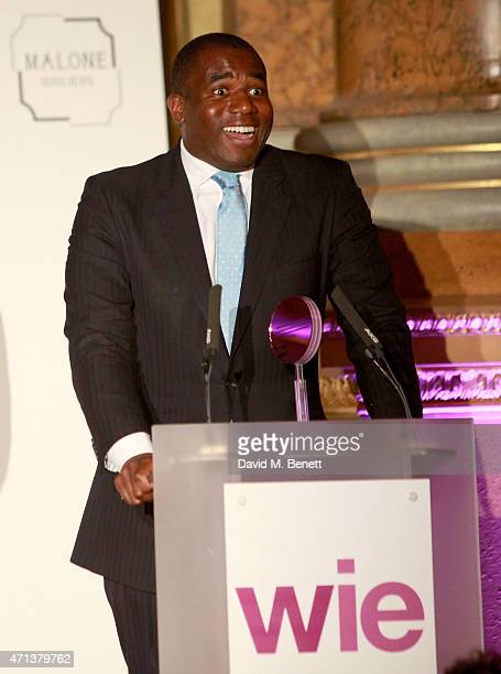 David Lammy presents the WIE Community Award at the LDNY show and WIE Award gala sponsored by Maserati at Goldsmith Hall on April 27 2015 in London...