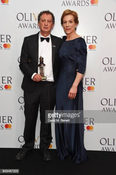 David Lan winner of the Special Award and Juliet Stevenson pose in the press room during The Olivier Awards with Mastercard at Royal Albert Hall on...