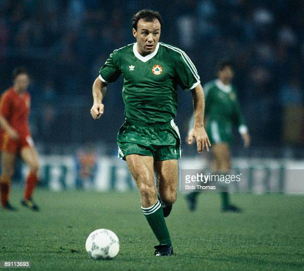 David Langan in action for the Republic of Ireland during their European Championship Qualifying match against Belgium at the Heysel Stadum in...