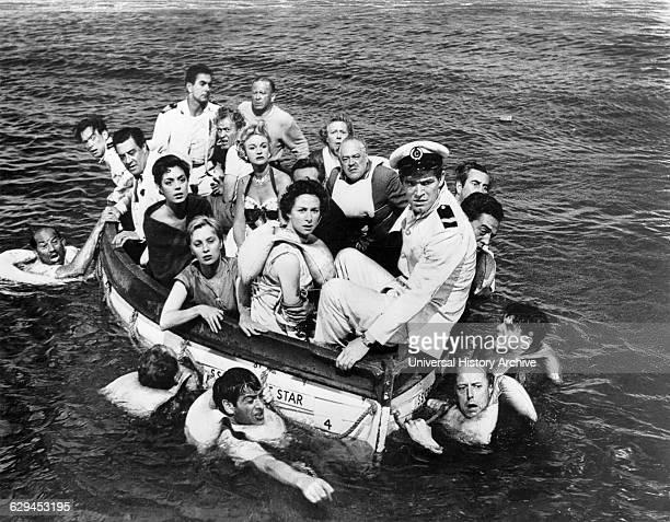 David Langton Tyrone Power Gordon Jackson Mai Zetterling Moira Lister Stephen Boyd onset of the Film Abandon Ship 1957