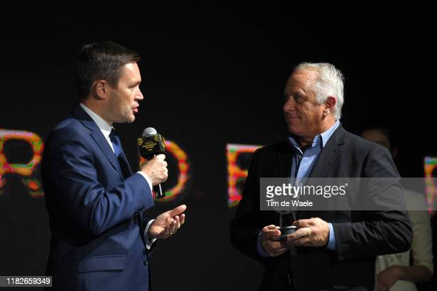 David Lappartient of France UCI President / Greg LeMond of United States Ex Pro-cyclist / Tribute - Prize / during the 5th UCI Gala Awards 2019 /...