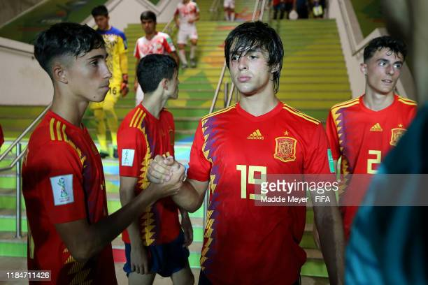 David Larrubia and Pablo Moreno of Spain during half time of the FIFA U17 World Cup Brazil 2019 group E match between Spain and Tajikistan at Estádio...