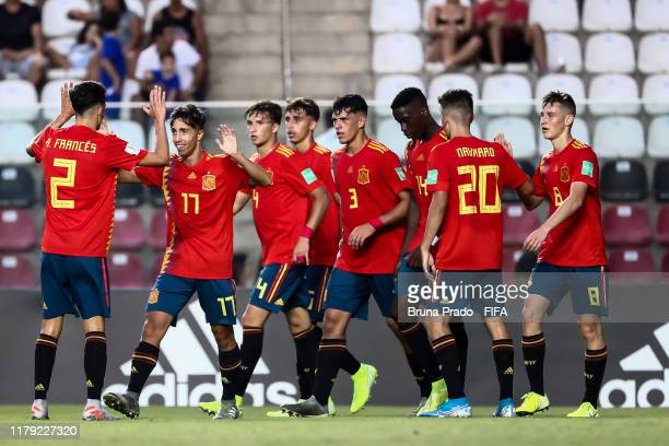 David Larrubia of Spain celebrates with a teammates after scoring a gol during the FIFA U17 Men's World Cup Brazil 2019 group E match Spain and...