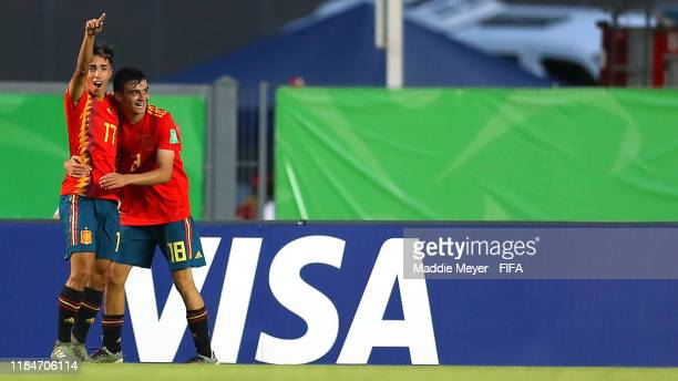 David Larrubia of Spain celebrates with Pedri Gonzalez after scoring a goal during the FIFA U17 World Cup Brazil 2019 group E match between Spain and...
