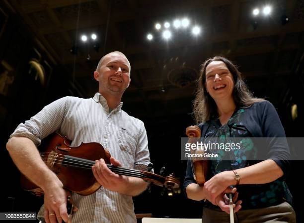 David Lau and Dorothea Vogel the two Leipzig Gewandhaus Orchestra members who are playing with the Boston Symphony Orchestra this fall pose for a...