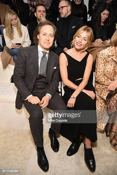 David Lauren and Actress Sienna Miller attend the Ralph Lauren Fall 2016 fashion show during New York Fashion Week The Shows at Skylight Clarkson Sq...