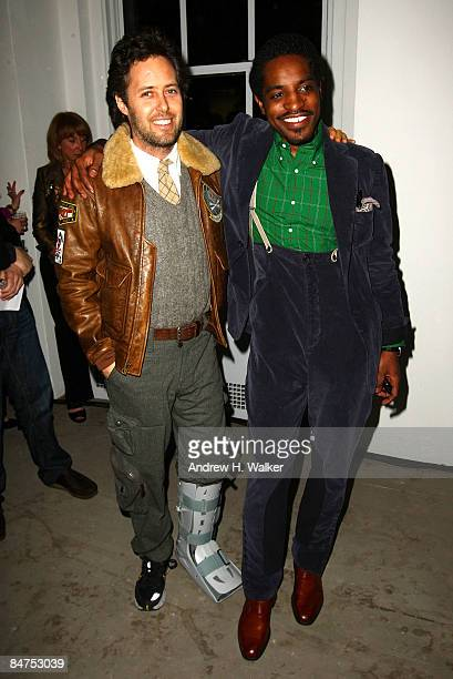 David Lauren and Benjamin Bixby designer Andre Benjamin attend the GQ CFDA 2009 Best New Menswear Designers Party at Eres boutique on February 11...