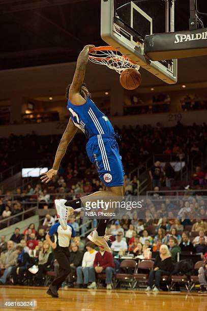 David Laury of the Delaware 87ers dunks the ball against the Erie BayHawks at the Erie Insurance Arena on November 20 2015 NOTE TO USER User...