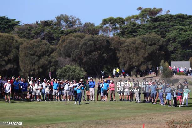 David Law of Scotland hits an approach to the 18th green that set up his eagle putt to win trophy during Day four of the ISPS Handa Vic Open at 13th...