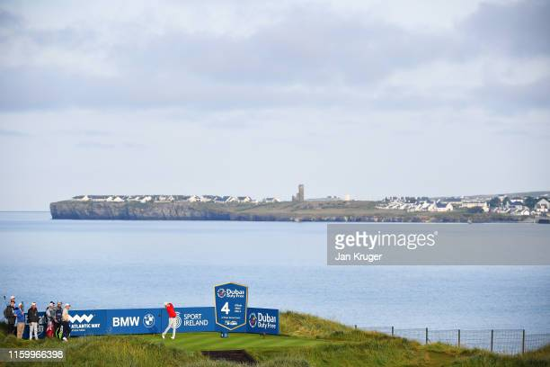 David Law of Scotland plays his tee shot on the fourth hole during Day One of the Dubai Duty Free Irish Open at Lahinch Golf Club on July 04 2019 in...