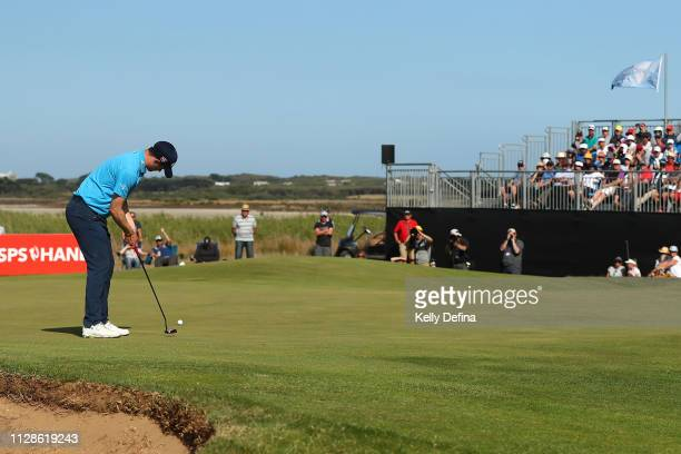 David Law of Scotland putts the ball to score an eagle on the 18th hole during Day four of the ISPS Handa Vic Open at 13th Beach Golf Club on...