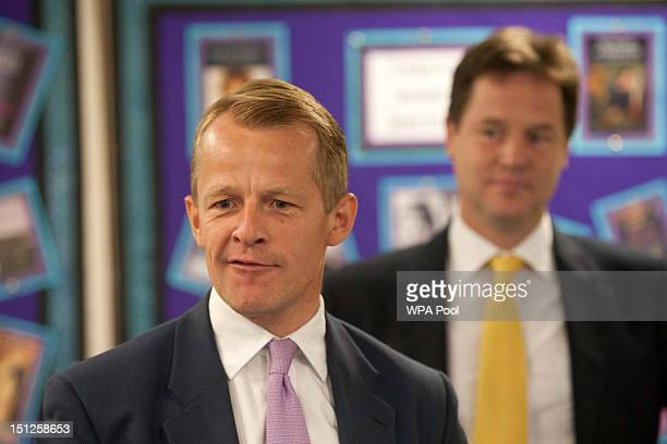 MP David Laws and The Deputy Prime Minister Nick Clegg are seen during a visit school to Mulberry School for Girls in Tower Hamlets on Septemebr 5...