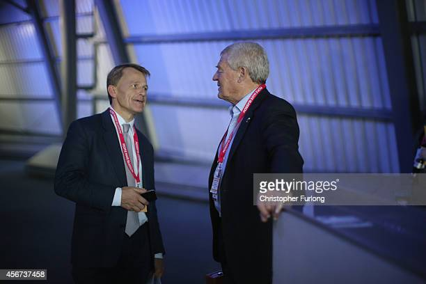 David Laws MP talks to Lib Dem stalwart Paddy Ashdown in the corridor during the Liberal Democrat Autumn conference at the SECC on October 6 2014 in...