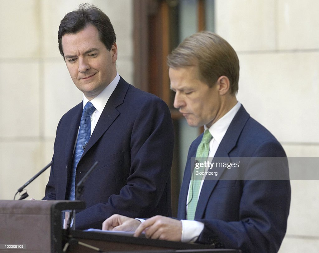 David Laws, U.K. chief treasury secretary, right, speaks as George Osborne, U.K. chancellor of the exchequer, looks on during a press conference at H.M.Treasury in London, U.K., on Monday, May 24, 2010. British Prime Minister David Cameron's two-week old coalition is taking its first steps to curb a record peacetime budget deficit today by announcing 6 billion pounds ($8.7 billion) of spending cuts. Photographer: Rupert Hartley/Bloomberg via Getty Images