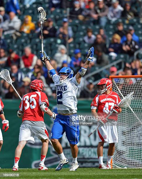 David Lawson of the Duke University Blue Devils celebrates a goal during the game against the Cornell University Big Red during a semifinal game of...