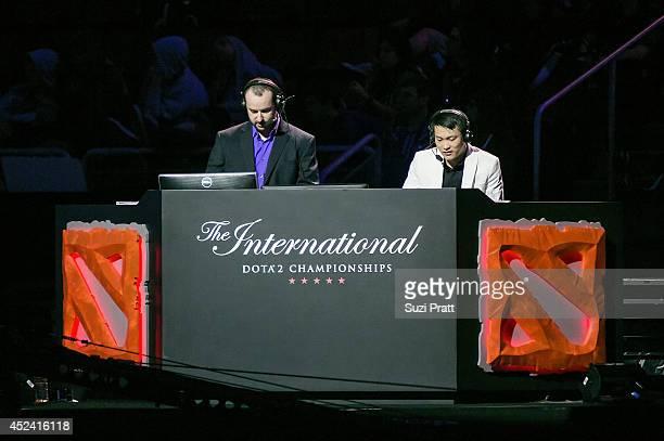 David 'LD' Gorman and David 'Luminous' Zhang at The International DOTA 2 Championships at Key Arena on July 19 2014 in Seattle Washington