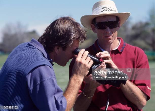 David Leadbetter, British golf instructor , with Nick Faldo, circa 1996.