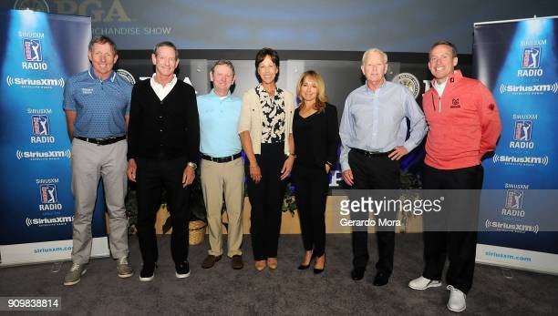 David Leadbetter Hank Haney Larry Rinker Suzy Whaley Debbie Doniger Jim McLean and Michael Breed pose at SiriusXM's Teachers Town Hall at the PGA...