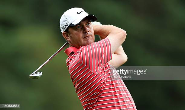 David Ledingham of Chestfield Golf Club hits his approach shot on the 16th hole during the Regional Final of the Virgin Atlantic PGA National ProAm...