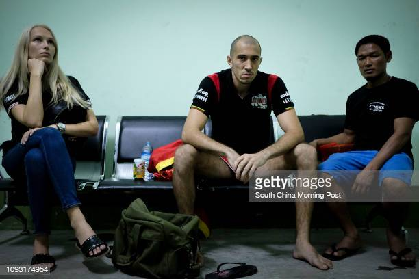 David Leduc from Canada in the changing room with his wife Irina Leduc Terehova and coach Win Tun prior his fight against Constantin Jallon from...