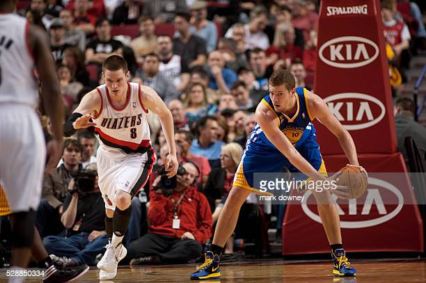 David Lee a Golden State Warrior gets ahold of the ball at a game versus the Portland Trail Blazers The Trail Blazers won 90 to 87