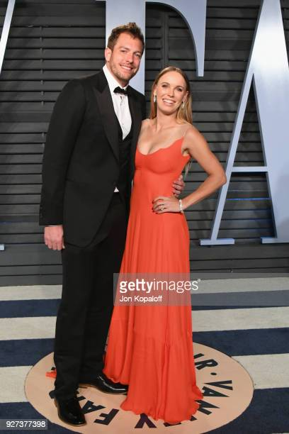 David Lee and Caroline Wozniacki attend the 2018 Vanity Fair Oscar Party hosted by Radhika Jones at Wallis Annenberg Center for the Performing Arts...