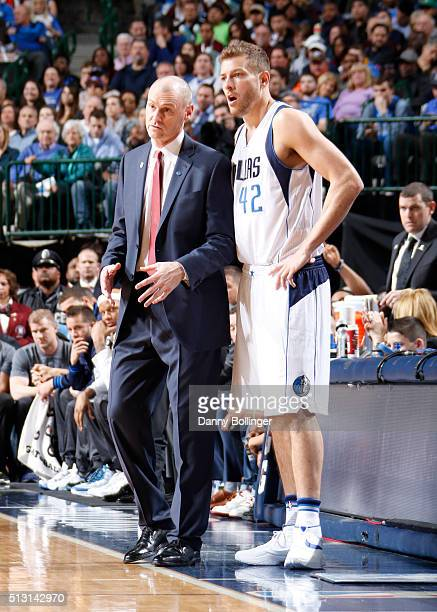David Lee and Rick Carlisle of the Dallas Mavericks talk during the game against the Oklahoma City Thunder on February 24 2016 at the American...
