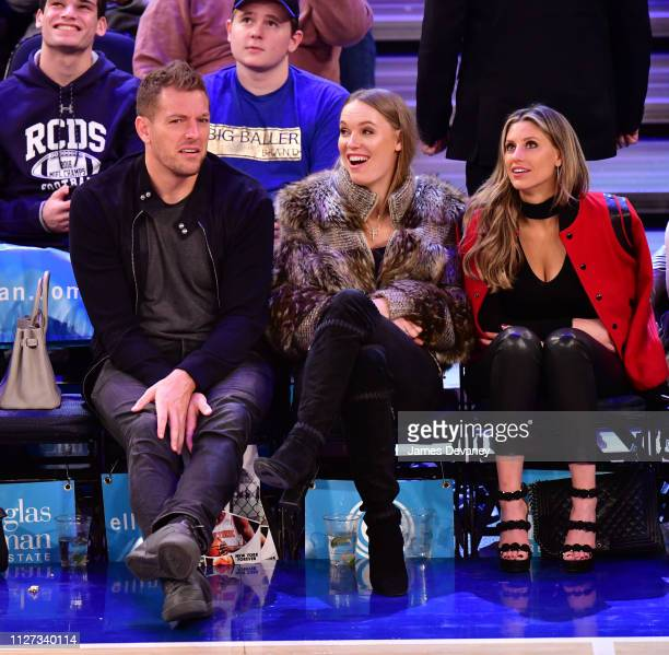 David Lee Caroline Wozniacki and guest attend San Antonio Spurs v New York Knicks game at Madison Square Garden on February 24 2019 in New York City