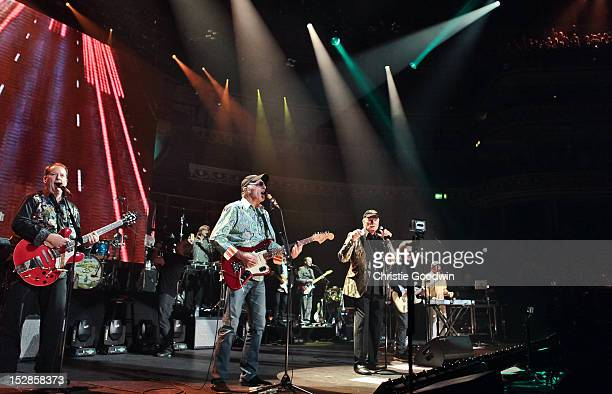 David Lee Marks, Mike Love, Al Jardine and Bruce Johnston of The Beach Boys perform on stage as part of the 50th Anniversary tour at Royal Albert...