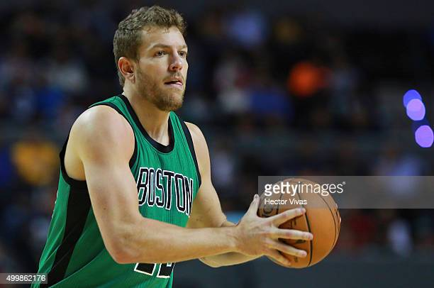 David Lee of Boston Celtics handles the ball during the match between Sacramento Kings and Boston Celtics at Arena Ciudad de Mexico on December 03...