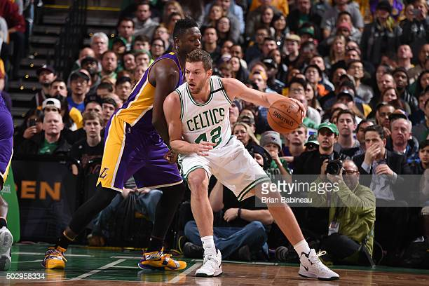David Lee of the Boston Celtics handles the ball against the Los Angeles Lakers on December 30 2015 at the TD Garden in Boston Massachusetts NOTE TO...