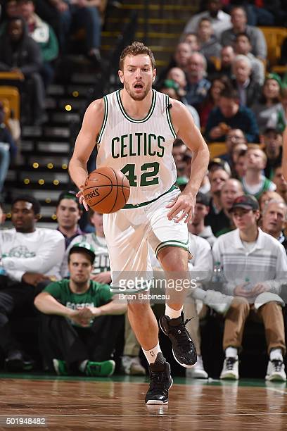 David Lee of the Boston Celtics handles the ball during the game against the Atlanta Hawks on December 18 2015 at the TD Garden in Boston...