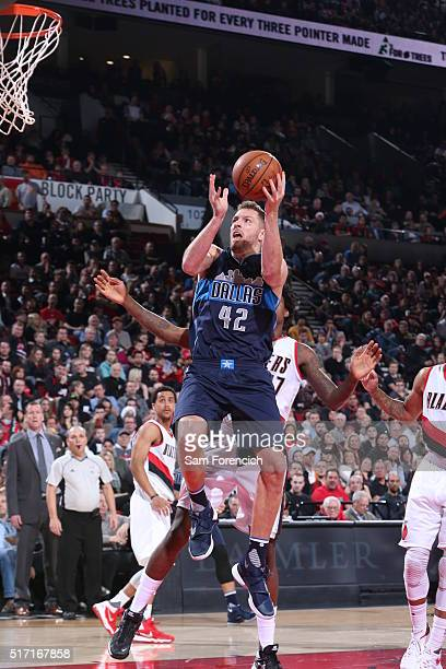 David Lee of the Dallas Mavericks goes to the basket against the Portland Trail Blazers on March 23 2016 at the Moda Center in Portland Oregon NOTE...