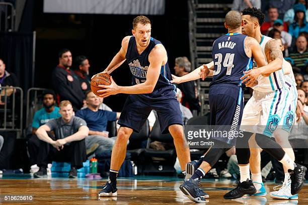 David Lee of the Dallas Mavericks handles the ball during the game against the Charlotte Hornets on March 14 2016 at Time Warner Cable Arena in...
