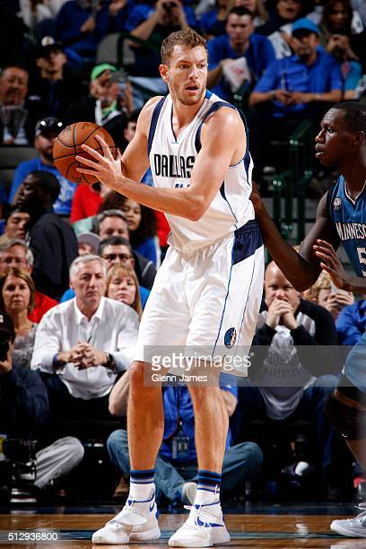David Lee of the Dallas Mavericks posts up against the Minnesota Timberwolves on February 28 2016 at the American Airlines Center in Dallas Texas...