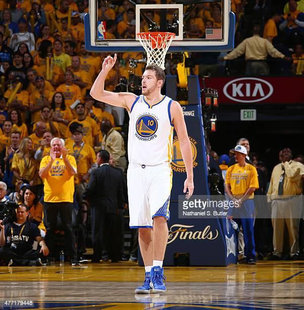 David Lee of the Golden State Warriors calls out to his teammates during Game Five of the 2015 NBA Finals on June 14 2015 at Oracle Arena in Oakland...