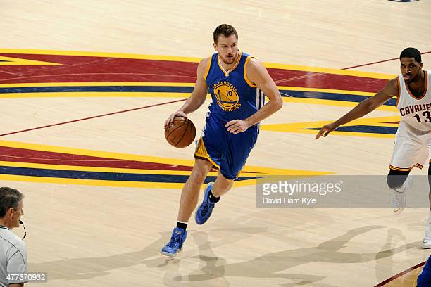 David Lee of the Golden State Warriors drives against the Cleveland Cavaliers in Game Six of the 2015 NBA Finals at The Quicken Loans Arena on June...