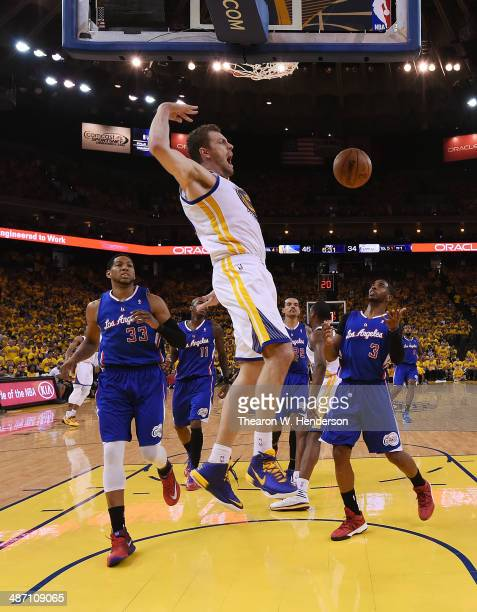 David Lee of the Golden State Warriors goes in for a slam dunk against the Los Angeles Clippers in Game Four of the Western Conference Quarterfinals...