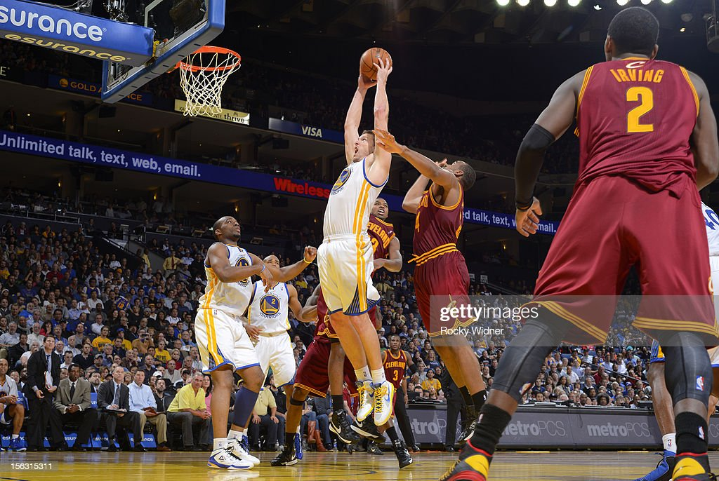 David Lee #10 of the Golden State Warriors goes up for the rebound against the Cleveland Cavaliers on November 7, 2012 at Oracle Arena in Oakland, California.