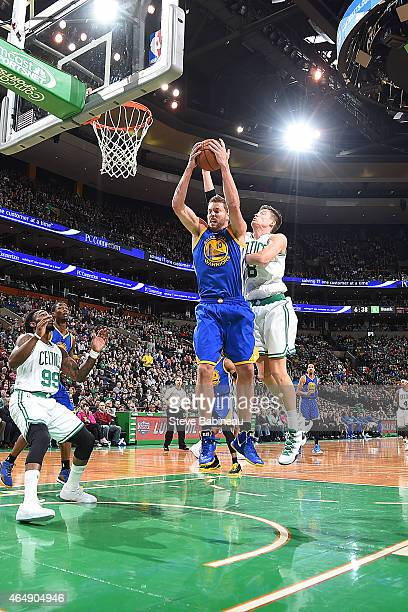 David Lee of the Golden State Warriors grabs the rebound against the Boston Celtics during the game on March 1 2015 at the TD Garden in Boston...
