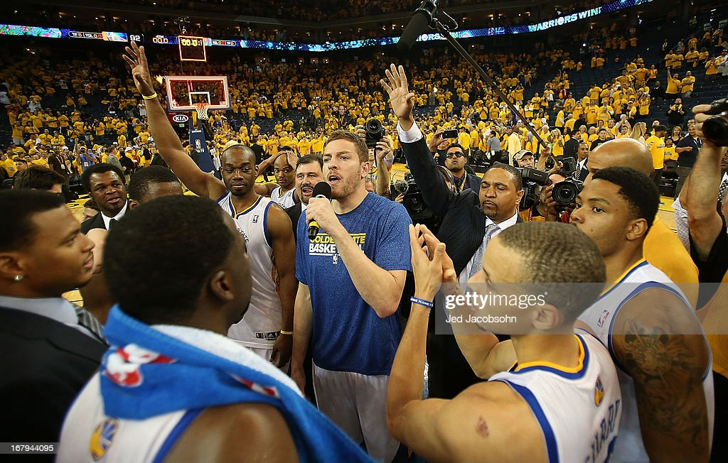 David Lee #10 of the Golden State Warriors of the Golden State Warriors celebrates with his teammates defeating the Denver Nuggets during Game Six of the Western Conference Quarterfinals of the 2013 NBA Playoffs at ORACLE Arena on May 2, 2013 in Oakland, California.