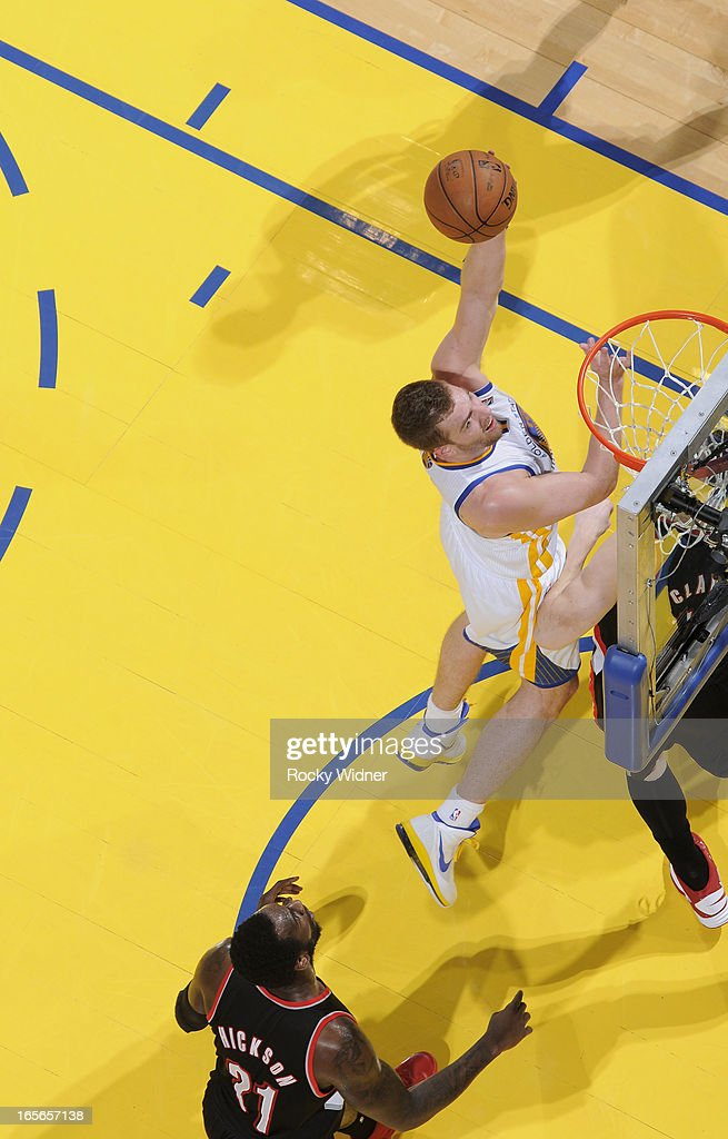 David Lee #10 of the Golden State Warriors shoots against the Portland Trail Blazers on March 30, 2013 at Oracle Arena in Oakland, California.