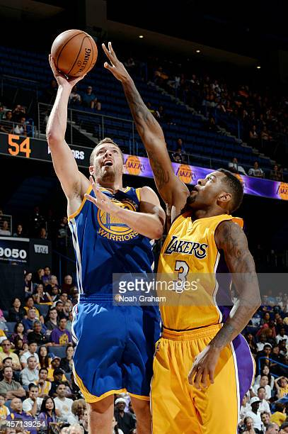 David Lee of the Golden State Warriors shoots the jumper against Jeremy Tyler of the Los Angeles Lakers on October 12 2014 at Citizens Business Bank...